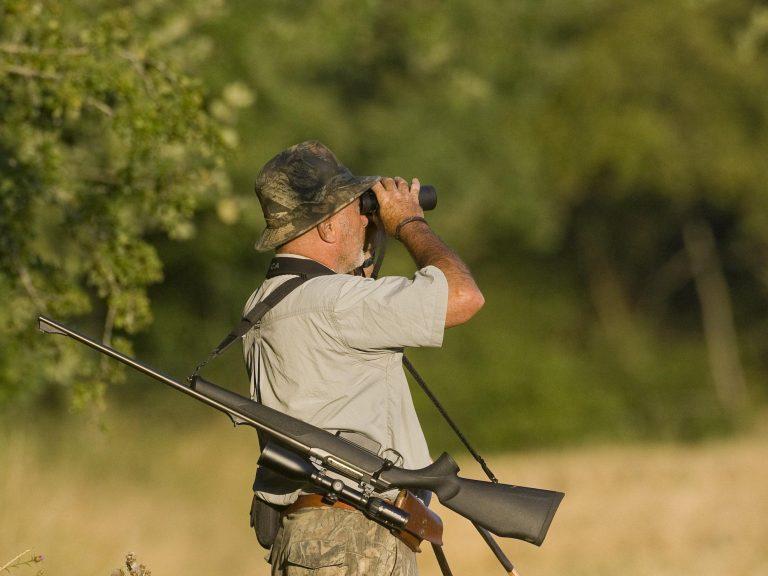 chasseur observe aux jumelles