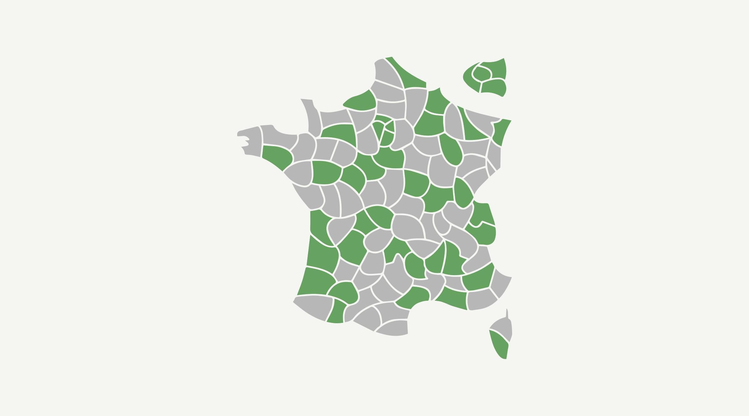 Zone verte : départements ayant participé à la Sérothèque Fédérale Nationale