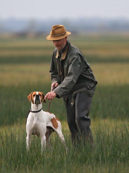 un chasseur et son chien pointer