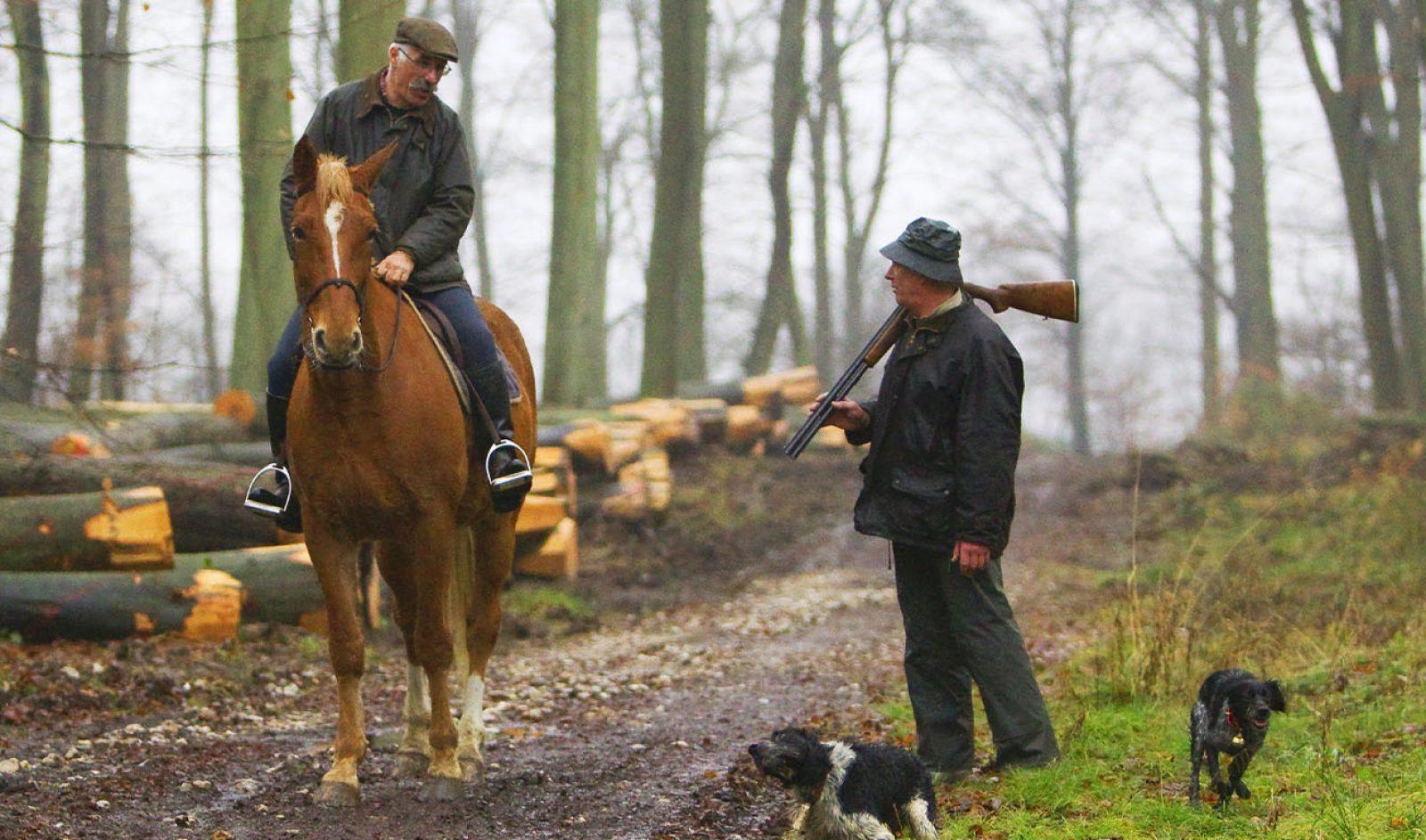 Un chasseur et un promeneur à cheval en forêt