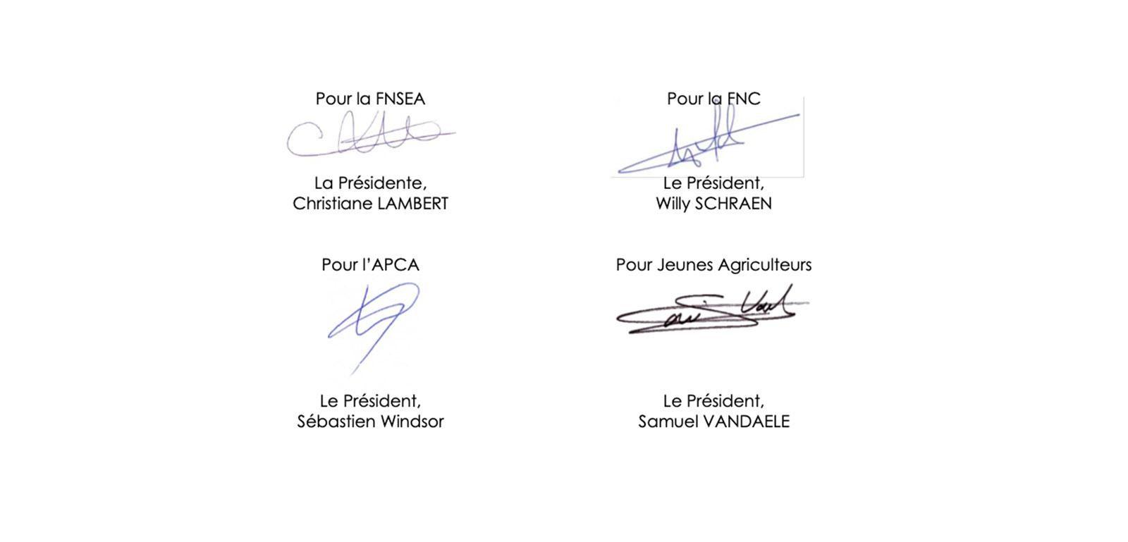 Signatures de la FNC, la FNSEA, l'APCA et les Jeunes agriculteurs