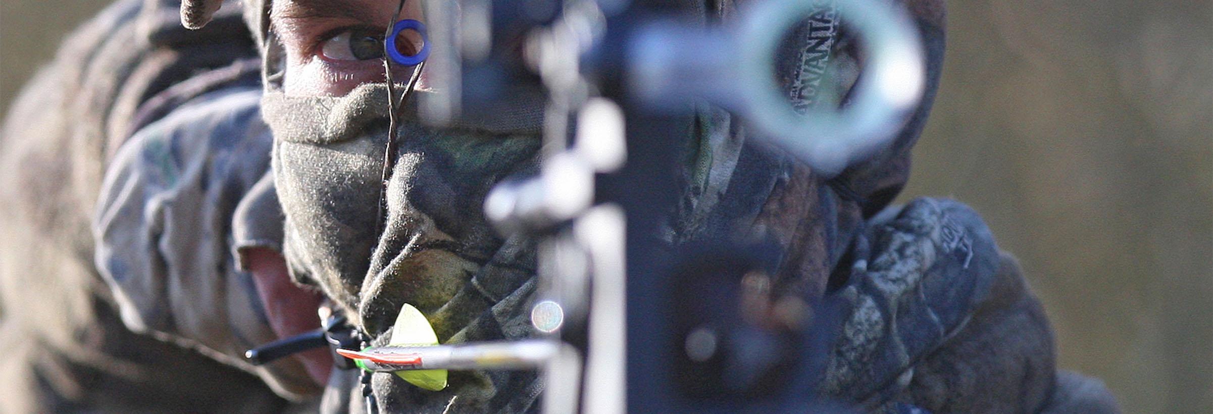 arc de chasse à poulies en visée
